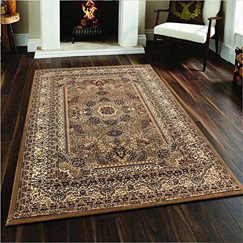 PHP Large Rugs for Living Room - Super Soft Geometrical Pattern Flatweave Non Slip Traditional Oriental Persian Rug - 240 X 340 cm (8 Ft X 11 Ft 2 In), 0207 Beige Rugs