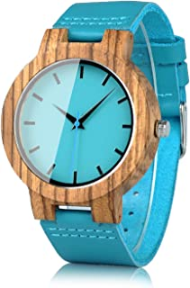 Mens Women's Bamboo Wooden Watch with Blue Cowhide Leather Strap Casual Watches for Love Gift with Box