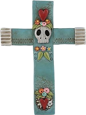 Department 56 Pumpkinseeds Day of The Dead Halloween Cross Wall Art Figurine, 6.38 inch