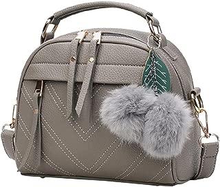 SturdCelleau Women Handbags, Neartime Fashion Hair Ball Lichee Pattern Crossbody Bag Shoulder Bag Versatile Messenger Bags Bag/Grey