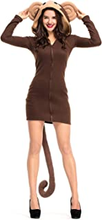 Paniclub Women's Cozy Monkey Zipper Jacket Hoodie Halloween Costume Sweatsuit Dress