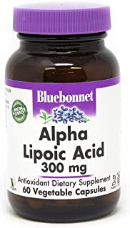 BlueBonnet Alpha Lipoic Acid Vegetarian Capsules, 300 mg, 60 Count, White