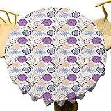 VICWOWONE Mantel retro – Mantel redondo de 35 pulgadas con inspiraciones de hotel vintage con fondo punteado y colorido follaje floreciente naturaleza de limpieza rápida multicolor
