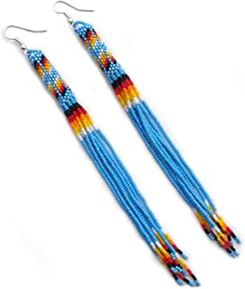 La vivia Handmade Beaded Indian Fashion Jewelry Turquoise Blue Silver Glass Seed Beaded Earrings Extra Long Handmade E-53-SB-24