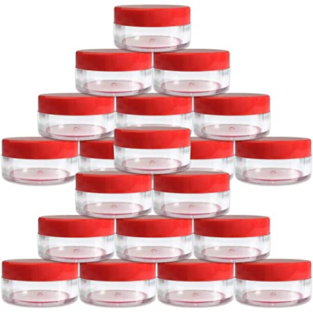 (Quantity: 20 Pieces) Beauticom 10G/10ML Round Clear Jars with RED Lids for Small Jewelry, Holding/Mixing Paints, Art Accessories and Other Craft Supplies - BPA Free