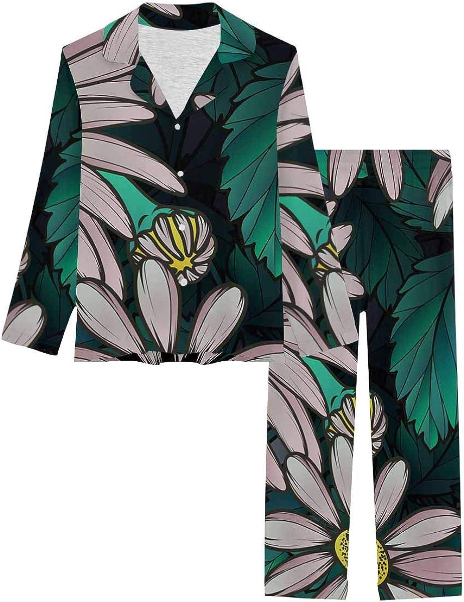 InterestPrint Long Sleeve Nightwear Button Down Loungewear for Women Chamomile Strawberries Pattern