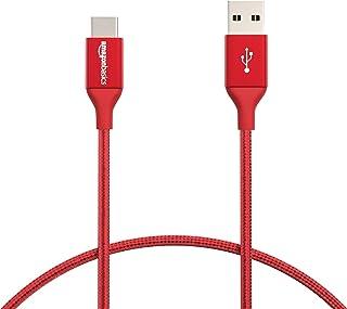 Amazonベーシック 充電ケーブル USB タイプ-C~タイプ-A 2.0 オス ダブル編組ナイロン 0.3m レッド
