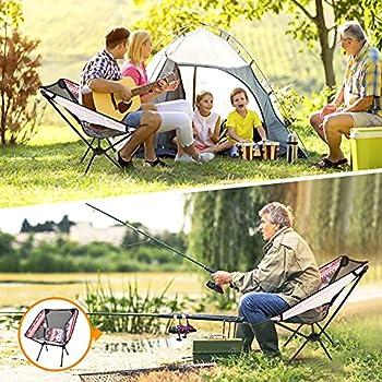 Chaise de Camping Pliable avec Sac de Transport Aceshop Portable Léger Pliable Camping Chaise avec Sac de Transport pour l'extérieur, la pêche, Le Festival, Les barbecues(jusqu'à 230 LB / 105 kg)