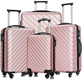 Apelila 4 Piece Luggage Sets,Travel Suitcase Spinner Hardshell Lightweight w/Free Suitcase Cover& Hanger (Rose Gold, 4 Pieces)