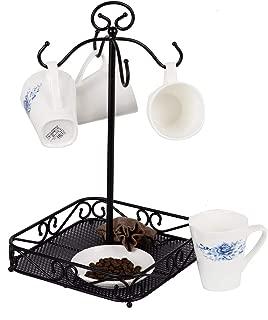 VANRA Steel Coffee Mug Holder 4 Hook Kitchen Stand Organizer Drinkware Rack/Fruit Display Basket, Black