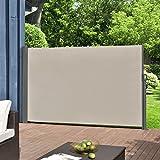 [pro.tec] Seitenmarkise 160 x 300 cm Sandfarben Beige Witterungsbeständig Sichtschutz Markise Sonnen- & Windschutz