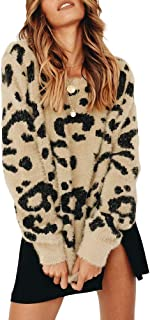 Womens Leopard Crewneck Sweater Oversized Casual Loose Basic Sherpa Pullover Knit Jumper