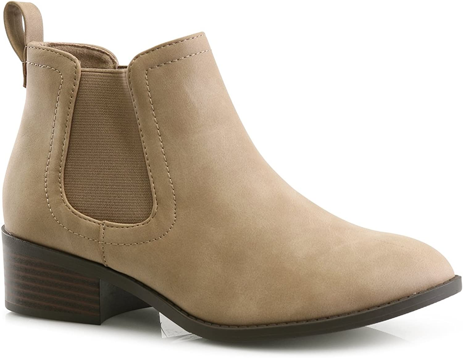 LUSTHAVE Open Peep Toe Cut Out Chunky Heel Ankle Booties High Heel Boots Faux Suede