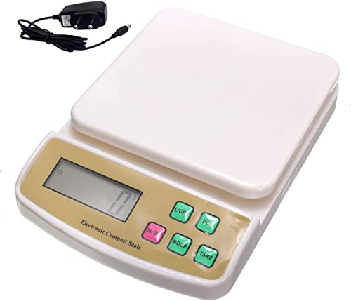Digital Electronic Weight Machine for Home Kitchen Shop Weighing Scale Kitchen Weigh Food Fruits Vegetables Products upto 10 KG Small Portable 6 Months Warranty White With Adapter