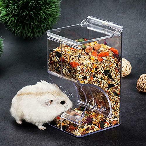 Hjinyu Alimentador Automático de Plástico Fijable para Hámster, Conejillos de Indias y Conejos, Alimentador Dispensador de Comida para Mascotas Pequeñas, Comedero Auto para Animales(1pc)