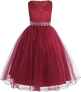 Vestido de Ceremonia Niña Vestido de Princesa Elegante Vestido de Boda Fiesta Bautizo Vestido Largo/Corto de Flores Encaje Floreado