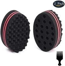 BIGEDDIE Big Holes Sponge for Hair, Twist Sponge, Magic Sponge Brush, Afro Hair Sponge for Curls with 6.29 Inch Free Hair Pick Comb(2 pack)