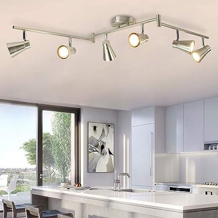 DLLT 6-Light Flexible Track Lighting Rail, Modern Directional Led Spot Ceiling Light Fixture Flush, Brush Steel, Bulbs Included for Living Room, Dining Room, Bedroom, Kitchen, Office