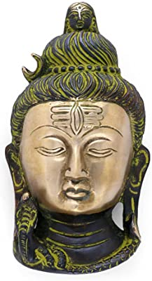 Collectible India Antique Shiva Brass Wall Hanging Idol Religious God Shiva Bust Decorative Wall Hangings