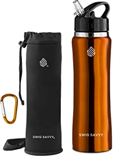 SWIG SAVVY Stainless Steel Water Bottle with Straw Lid | BPA-Free Vacuum Insulated Double Walls Wide Mouth Design | Reusable Sports Drinking Container with Carrying Sleeve Pouch