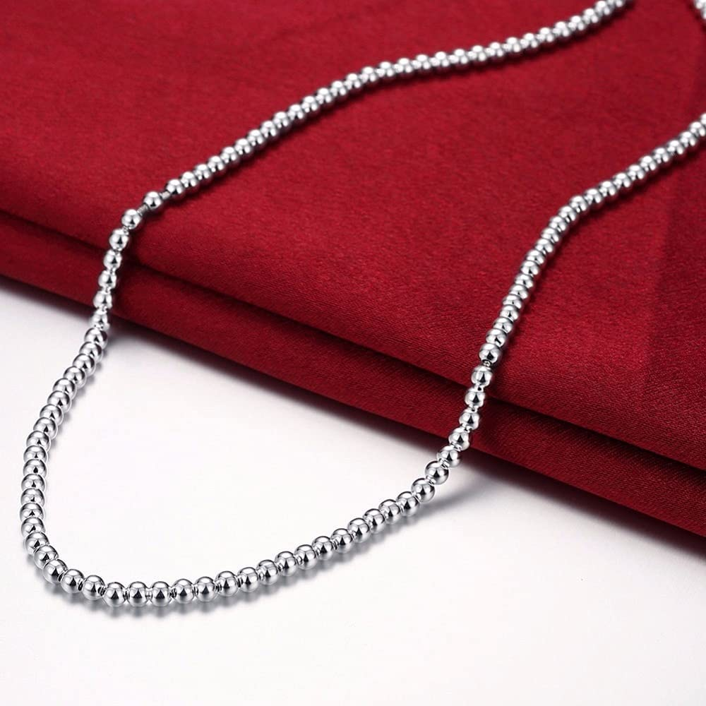 Limited time for free shipping 925 Silver 4mm Beads Necklace Kolye Luxury Jewelry Fine New arrival Collares