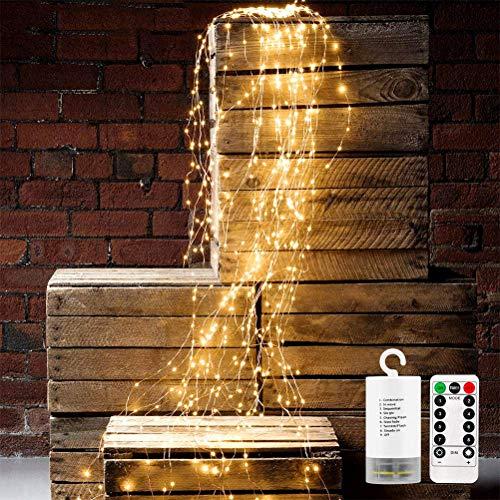 Led Lichterbündel mit Fernbedienung Timer 200led Lichterkette Batteriebetrieb 8 modi Lichterdraht Färenlichter für Weihnachtsbaum Garten Party Hochzeit Warmweiß