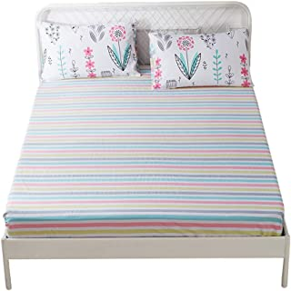 HIGHBUY 100% Soft Cotton Fitted Sheet Twin Size Colorful Striped Deep Pocket Wrinkle Free Kids Bedding Collection Twin Bed Sheet 1 PCS