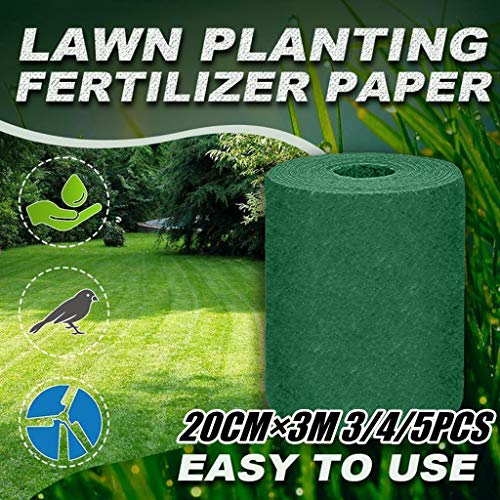 Flexmus Garden Natural Biodegradable Grass Seed Mat Lawn Fertilizer, Eco-friendly Gardening Planting Mat Seed Pad, Thermal Insulation, Moisturizing, Shading Seed Blanket (3, 7.9x118inch/20x300cm)