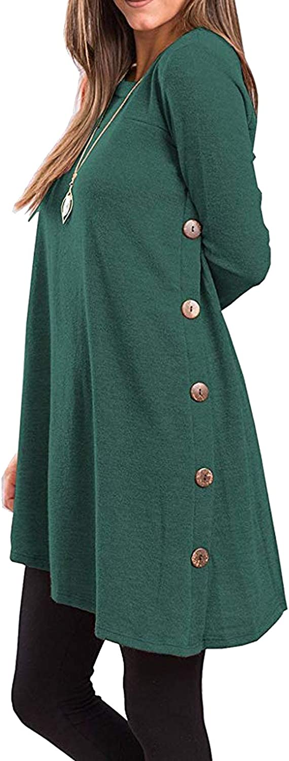 Casuress Women's Tunic DressLong Sleeve Scoop Neck Button Side Dress Green