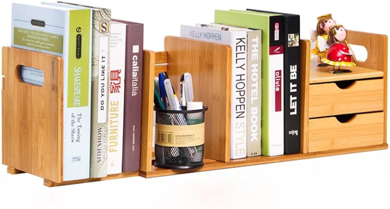 Adjustable Freestanding Natural Wood Desktop Storage Organizer Display Shelf Rack Counter Top Bookcase-L50-8018.520.5CM (Size   Double drawer)