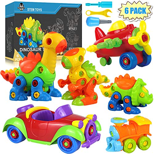 POKONBOY Dinosaur Toys Take Apart Toys with Tools - Set of 6 Building STEM Toys Including Dinosaurs, Airplane, Train, Car Construction Engineering Building Play Set for Kids Age 3 - 12 Years Old
