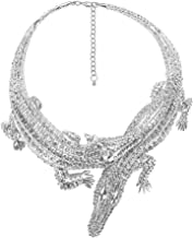 Libaraba Bohemia Style Diamond Accent Two Crocodile Pendant Choker Necklace,Crocodile Necklace for Women,Men
