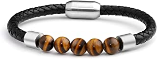 JOVIVI Personalized Custom Natural Agate/Tiger Eye/Lava Rock Stone Beads Essential Oils Diffuser Bracelet Healing for Men Women Leather Cuff Bracelets Stainless Steel Magnetic Buckle