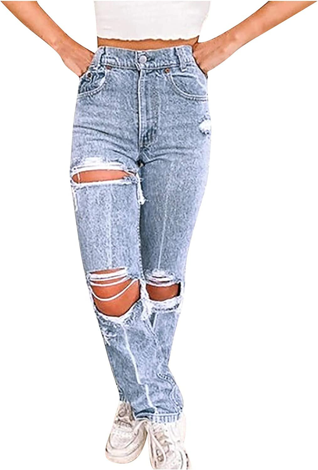 FUNEY Plus Size Baggy Ripped Hole Loose Straight Pants Beggar Jeans for Women Hight Waisted Distressed Denim Pants