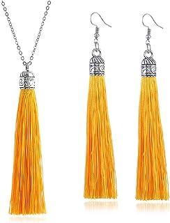 Tuoke-peri Colorful Long Tassel Necklace Dangle Earrings Bohemian Drop Pendant Jewelry Sets for Women and Girls