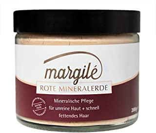 margilé rote Tonerde –Wascherde als festes Shampoo & für Gesichtsmasken – No Poo & clay mask mit Mineralerde – 200g im Glas