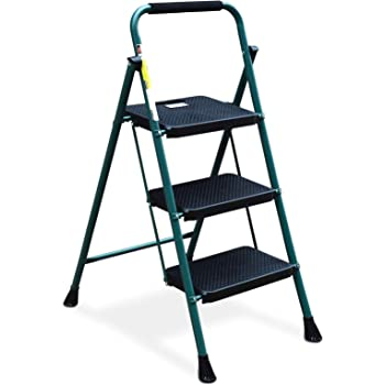 HBTower 3 Step Ladder, Folding Step Stool with Wide Anti-Slip Pedal, 500lbs Sturdy Steel Ladder, Convenient Handgrip, Lightweight, Portable Steel Step Stool, Green and Black
