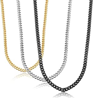 Stainless Steel Link Curb Chain Necklace for Men Women 3 Pcs 3.5mm