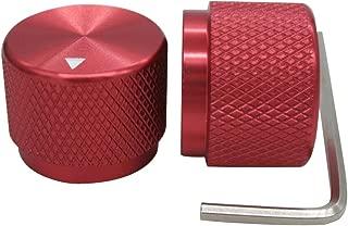 Taiss/ 2pcs Red Aluminum Rotary Electronic Control Potentiometer Knob For 6 mm Diameter Shaft, Volume Control Knobs, Audio knob, Guitar Knobs,Switch Knob, 20mm dia. x 15.5mm height