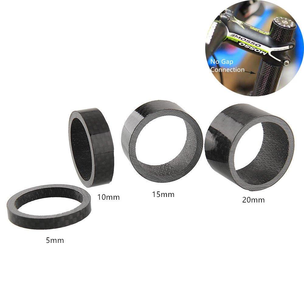 "5pcs Carbon Fiber 5,10,15,20mm 1 1//8/"" Headset Spacers kit For Stem Road BIKE MTB"