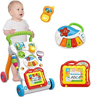 Sit-to-Stand Learning Walker,Multi-Function Baby Walker Stroller with Rattle, Music Piano, Drawing Board and Mirror,Interactive Music Walker Learning Toy,Birthday Children's Day Gift