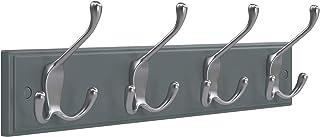 SONGMICS 壁付けコートラック 4つの3フック付き 玄関 バスルーム クローゼット用 グレー ULHR30GY