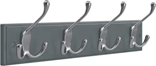 SONGMICS Wall Mounted Coat Rack, with 4 Tri-Hooks, for Entryway Bathroom Closet, Gray ULHR30GY