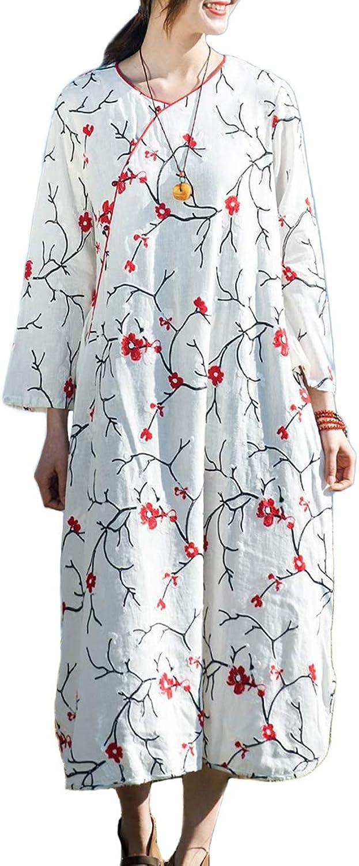 LZJN Women's Spring Cotton Linen Dresses Retro Ethnic Style Embroidery Long Dress