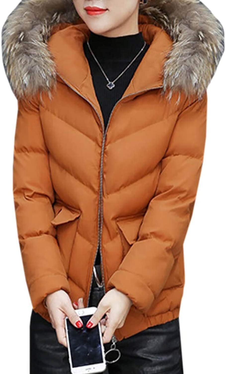 Maweisong Women Thickened Down Jacket Puffer Jacket Faux Fur Hood Coats