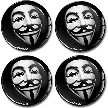 Skinoeu 4 X 50mm Aufkleber 3d Gel Silikon Autoaufkleber Stickers Anonymous Felgenaufkleber Für Radkappen Nabenkappen Radnabendeckel Rad Aufkleber Nabendeckel Auto Tuning A 650 Auto