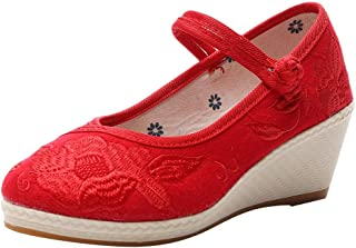 VonVonCo Shoes Elastic Durable Yoga Surf Sports Brogues Women's Wedges Embroidered Canvas Chinese Style Soft Bottom Casual
