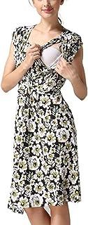 LEXUPA Women's Pregnancy Sleeveless Floral Print Breastfeeding Dress Nursing Sundress