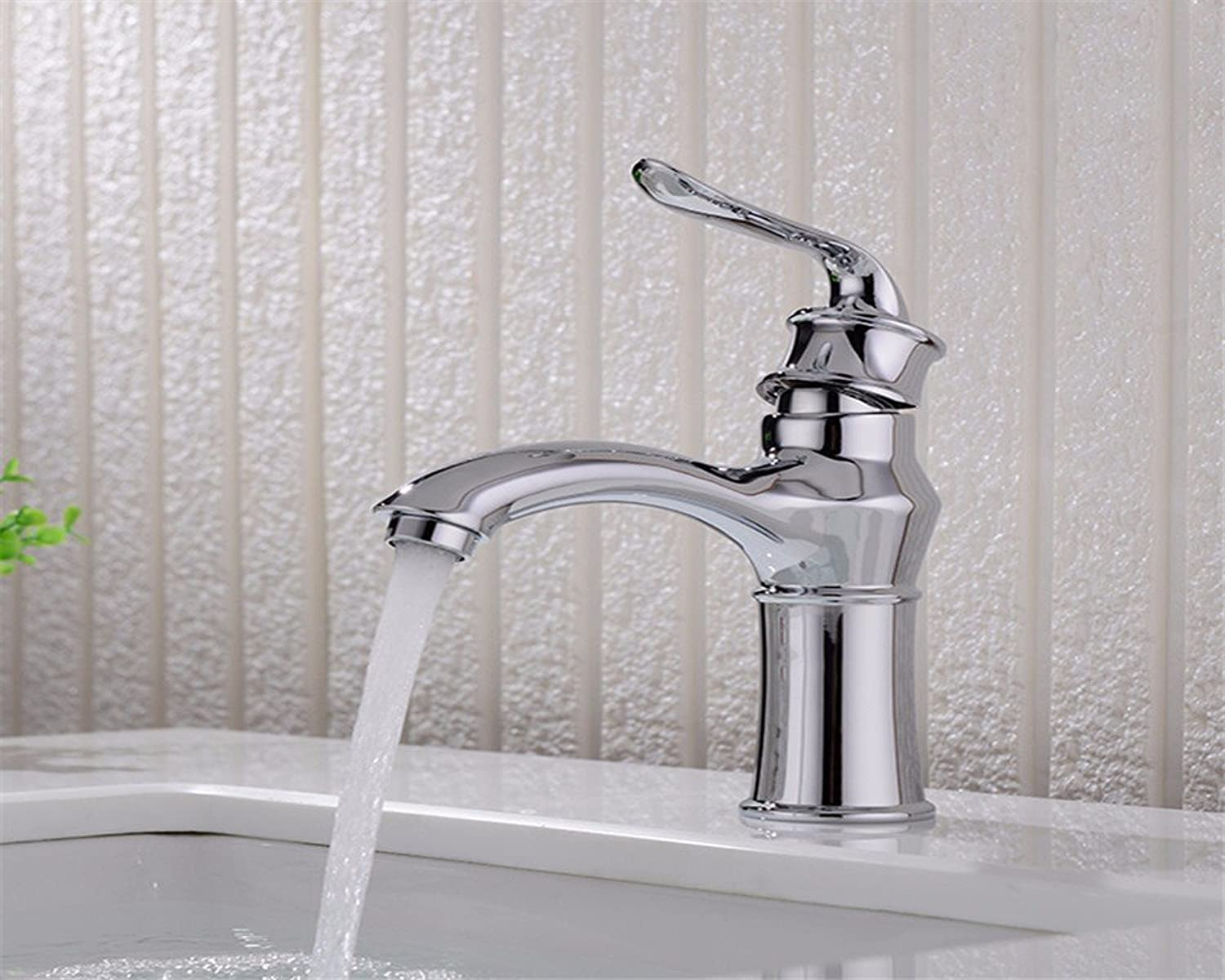 Hlluya Professional Sink Mixer Tap Kitchen Faucet The bathrooms are single hole and cold water, chrome-colord vanity sinks faucets, 1