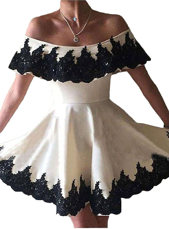 LIURU.DRESS Sweet Boat Neck Black Applique White Satin Short Homecoming Dress